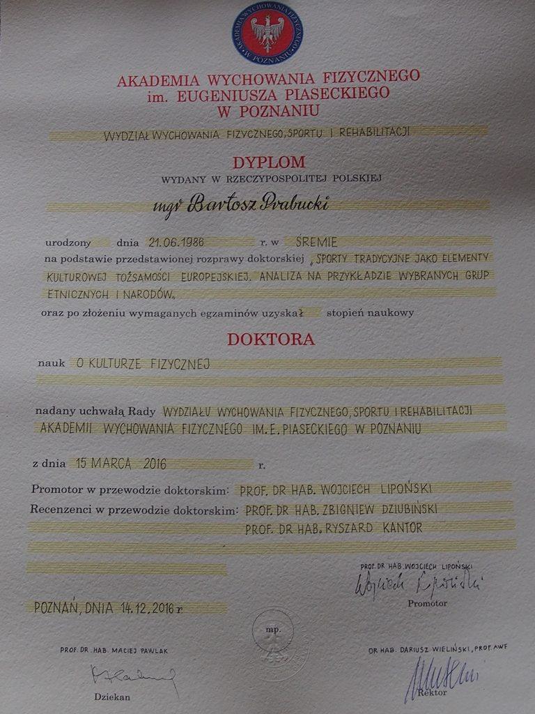 dr Bartosz Prabucki - dyplom doktorski